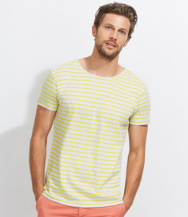 Sol 39 s miles stripe t shirt embroidered printed for Sol s t shirt