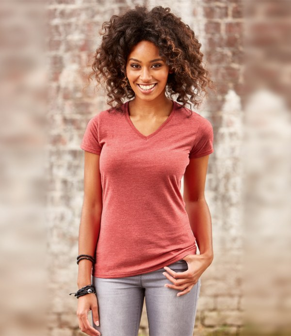 Russell Ladies V Neck HD T-Shirt,custom workwear