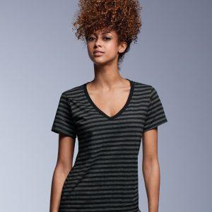 Anvil Ladies Fashion Basic Striped V Neck T-Shirt,Positive Branding
