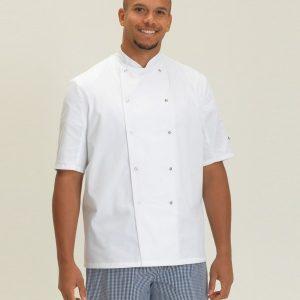 Dennys Short Sleeve Press Stud Chef's Jacket,branded staff uniforms in London