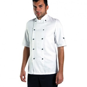 Dennys Short Sleeve Removable Stud Chef's Jacket,branded staff uniforms in London