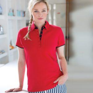 Front Row Ladies Contrast Cotton Piqué Polo Shirt,Positive Branding