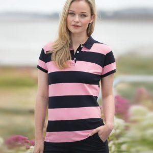 Front Row Ladies Striped Cotton Pique Polo Shirt,Positive Branding
