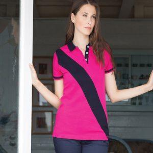 Front Row Ladies Diagonal Stripe House Cotton Pique Polo Shirt,personalised polo shirt