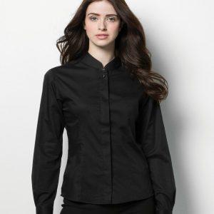 Kustom Kit Bargear® Ladies Long Sleeve Mandarin Collar Shirt,Positive Branding