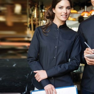 Kariban Ladies Long Sleeve Mandarin Collar Shirt,Positive Branding